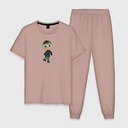 Пижама хлопковая мужская MARLOW CROSSING цвета пыльно-розовый — фото 1