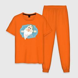 Пижама хлопковая мужская Сонный Гном цвета оранжевый — фото 1