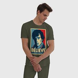 Пижама хлопковая мужская Верю в Шерлока цвета меланж-хаки — фото 2