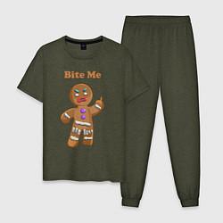 Пижама хлопковая мужская Выкуси! цвета меланж-хаки — фото 1