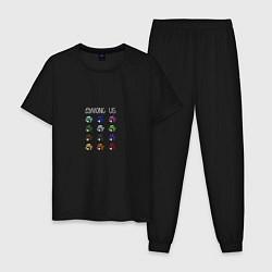 Пижама хлопковая мужская Among Us цвета черный — фото 1