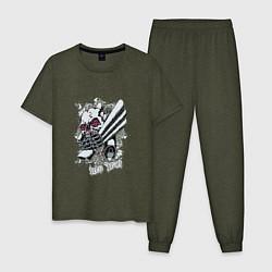 Пижама хлопковая мужская Бешеный двигатель цвета меланж-хаки — фото 1