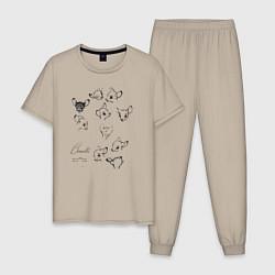 Пижама хлопковая мужская Бэмби цвета миндальный — фото 1