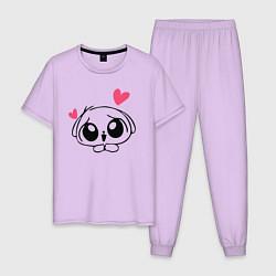 Пижама хлопковая мужская Зая цвета лаванда — фото 1
