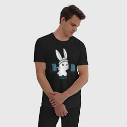 Пижама хлопковая мужская Физкульт - привет! цвета черный — фото 2