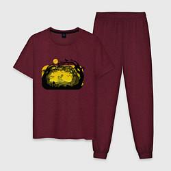 Пижама хлопковая мужская Пони цвета меланж-бордовый — фото 1