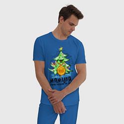 Пижама хлопковая мужская С Новым Годом цвета синий — фото 2