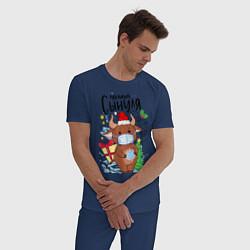 Пижама хлопковая мужская Новый Год в маске цвета тёмно-синий — фото 2