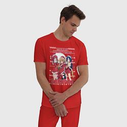 Пижама хлопковая мужская MERRY CHRISTMAS SENPAI цвета красный — фото 2