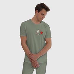 Пижама хлопковая мужская Heart цвета авокадо — фото 2