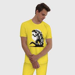 Пижама хлопковая мужская Годзилла цвета желтый — фото 2
