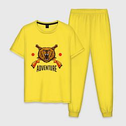 Пижама хлопковая мужская Охотникам цвета желтый — фото 1