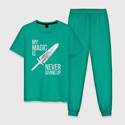 Пижама хлопковая мужская My magic is never giving up цвета зеленый — фото 1