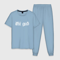 Пижама хлопковая мужская Git gud цвета мягкое небо — фото 1