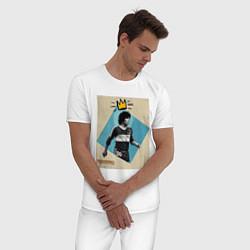 Пижама хлопковая мужская Марадона GOAT цвета белый — фото 2