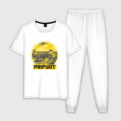 Пижама хлопковая мужская Visit Pripyat цвета белый — фото 1