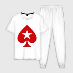 Пижама хлопковая мужская Покер Пики Poker Stars цвета белый — фото 1