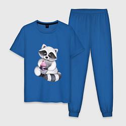 Пижама хлопковая мужская Енотик цвета синий — фото 1