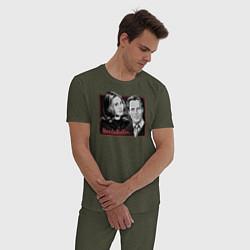 Пижама хлопковая мужская ВандаВижен цвета меланж-хаки — фото 2