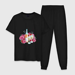 Пижама хлопковая мужская Романтический пикник цвета черный — фото 1