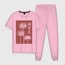 Пижама хлопковая мужская Призрачный цветок цвета светло-розовый — фото 1