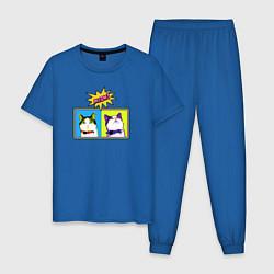 Пижама хлопковая мужская Коты Поп-Арт цвета синий — фото 1