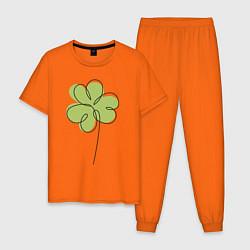 Пижама хлопковая мужская Клевер на День святого Патрика цвета оранжевый — фото 1