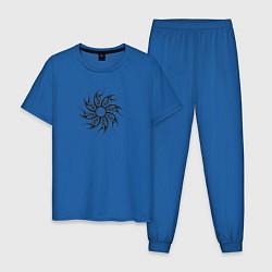 Пижама хлопковая мужская СКАНДИНАВСКИЕ УЗОРЫ цвета синий — фото 1