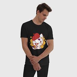 Пижама хлопковая мужская Котя рисовал краской творил цвета черный — фото 2