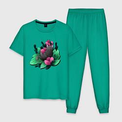 Пижама хлопковая мужская Кот в цветах цвета зеленый — фото 1