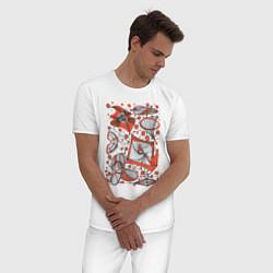 Пижама хлопковая мужская Кинетическая скульптура цвета белый — фото 2