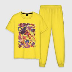 Пижама хлопковая мужская Медузы цвета желтый — фото 1