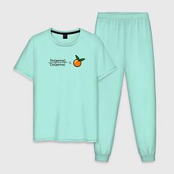 Пижама хлопковая мужская Синус цвета мятный — фото 1