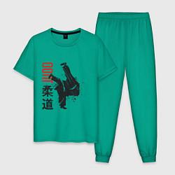 Пижама хлопковая мужская Дзюдо цвета зеленый — фото 1