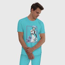 Пижама хлопковая мужская Рей Аянами Evangelion цвета бирюзовый — фото 2