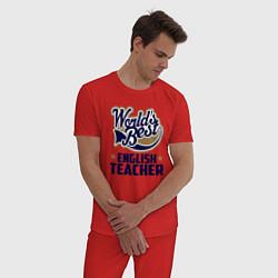 Пижама хлопковая мужская Worlds best English Teacher цвета красный — фото 2