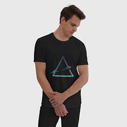 Пижама хлопковая мужская Абстрактный жидкий треугольник цвета черный — фото 2