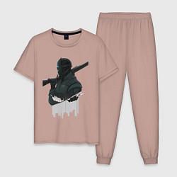 Пижама хлопковая мужская Vigil Rainbow Six Art 01 цвета пыльно-розовый — фото 1
