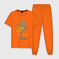 Пижама хлопковая мужская I miss you face цвета оранжевый — фото 1
