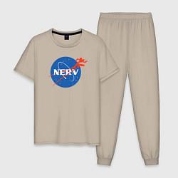 Пижама хлопковая мужская Nerv цвета миндальный — фото 1