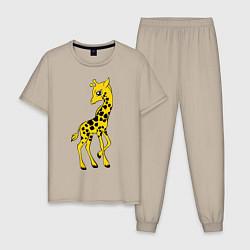 Пижама хлопковая мужская Маленький жираф цвета миндальный — фото 1