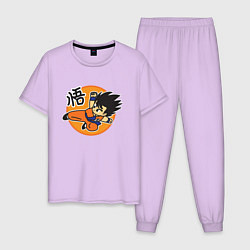 Пижама хлопковая мужская Молодой Сон Гоку цвета лаванда — фото 1