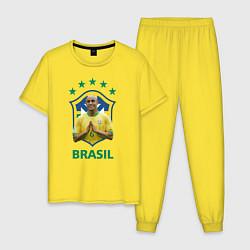 Пижама хлопковая мужская Роберто Карлос цвета желтый — фото 1