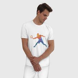 Пижама хлопковая мужская Tennis player - man цвета белый — фото 2