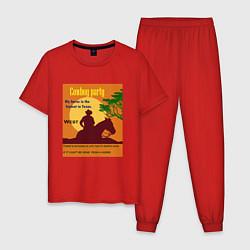 Пижама хлопковая мужская Лошадь и ковбой цвета красный — фото 1