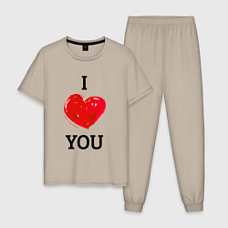 Пижама хлопковая мужская I LOVE YOU HEART Z цвета миндальный — фото 1