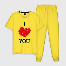 Пижама хлопковая мужская I LOVE YOU HEART Z цвета желтый — фото 1