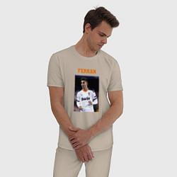 Пижама хлопковая мужская Ферран Торрес Ferran Torres цвета миндальный — фото 2