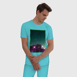 Пижама хлопковая мужская Ночной город цвета бирюзовый — фото 2