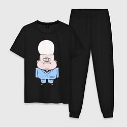 Пижама хлопковая мужская Не злите малыша Гидеона цвета черный — фото 1